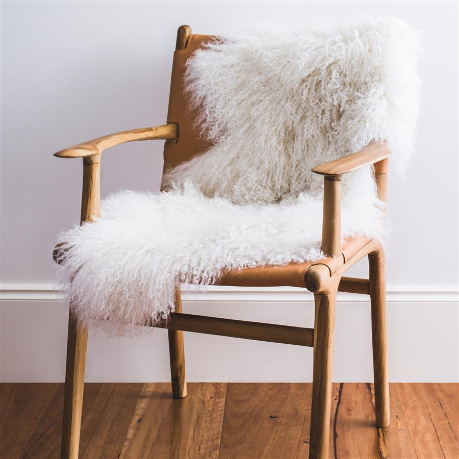 Mongolian Sheepskin Rug - White - Hello Little Birdie