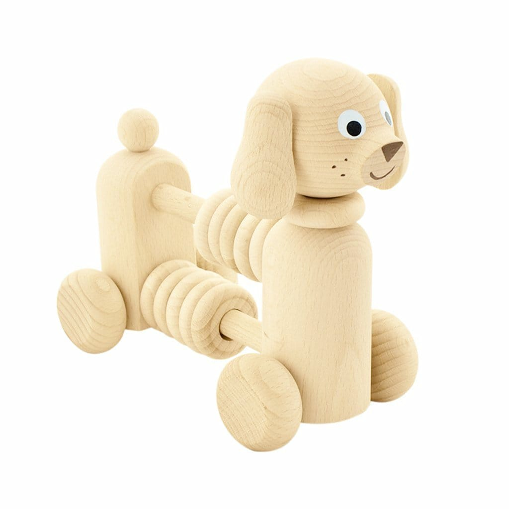 Miva Vacov Wooden Dog With Counting Beads - Hello Little Birdie