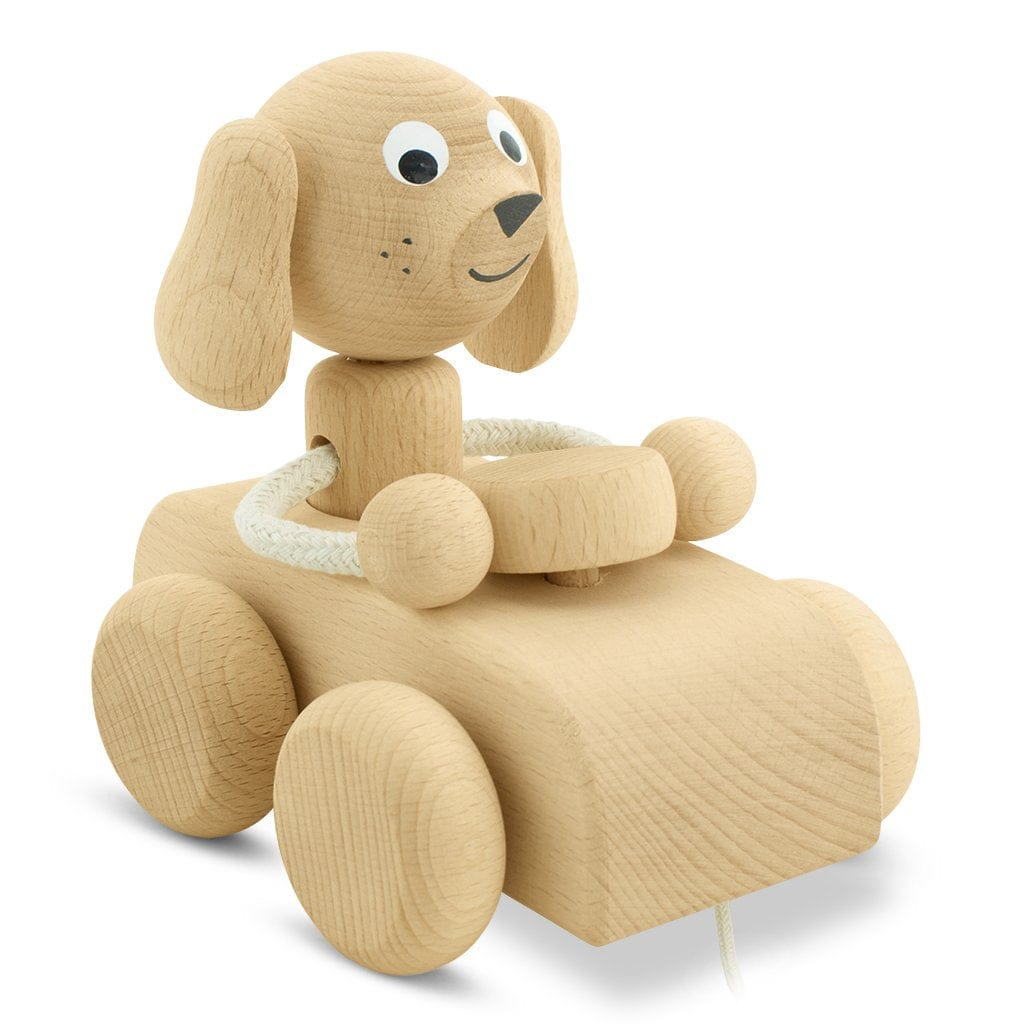 Miva Vacov Wooden Pull Along Dog In Car, Cedric
