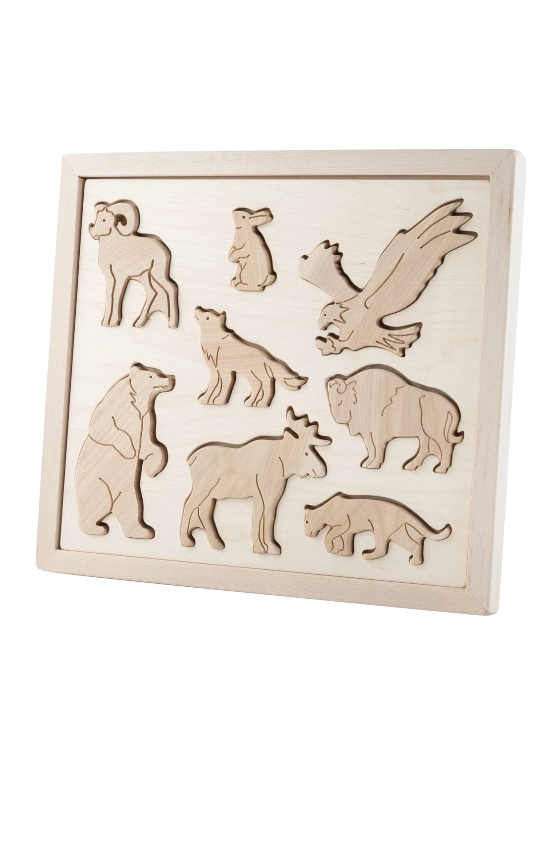 Kubi Dubi Wooden Sorting Puzzle, Animals Of North America (PRE-ORDER OCT) - Hello Little Birdie