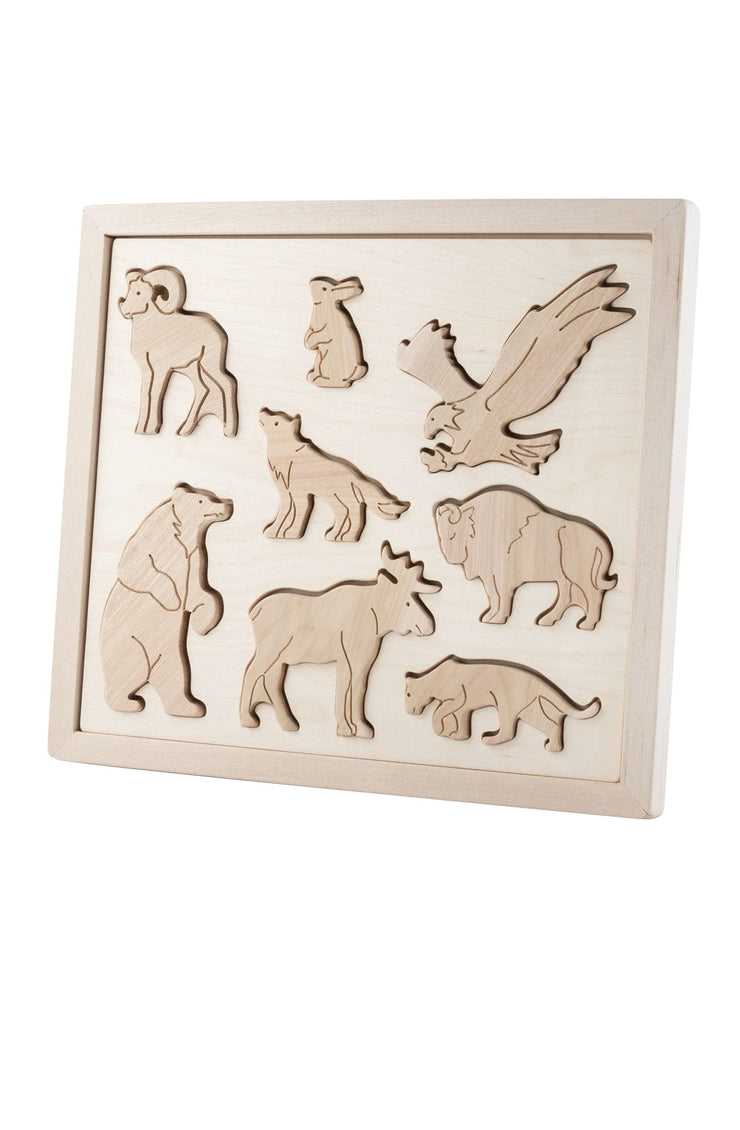 Kubi Dubi Wooden Sorting Puzzle, Animals Of North America - Hello Little Birdie