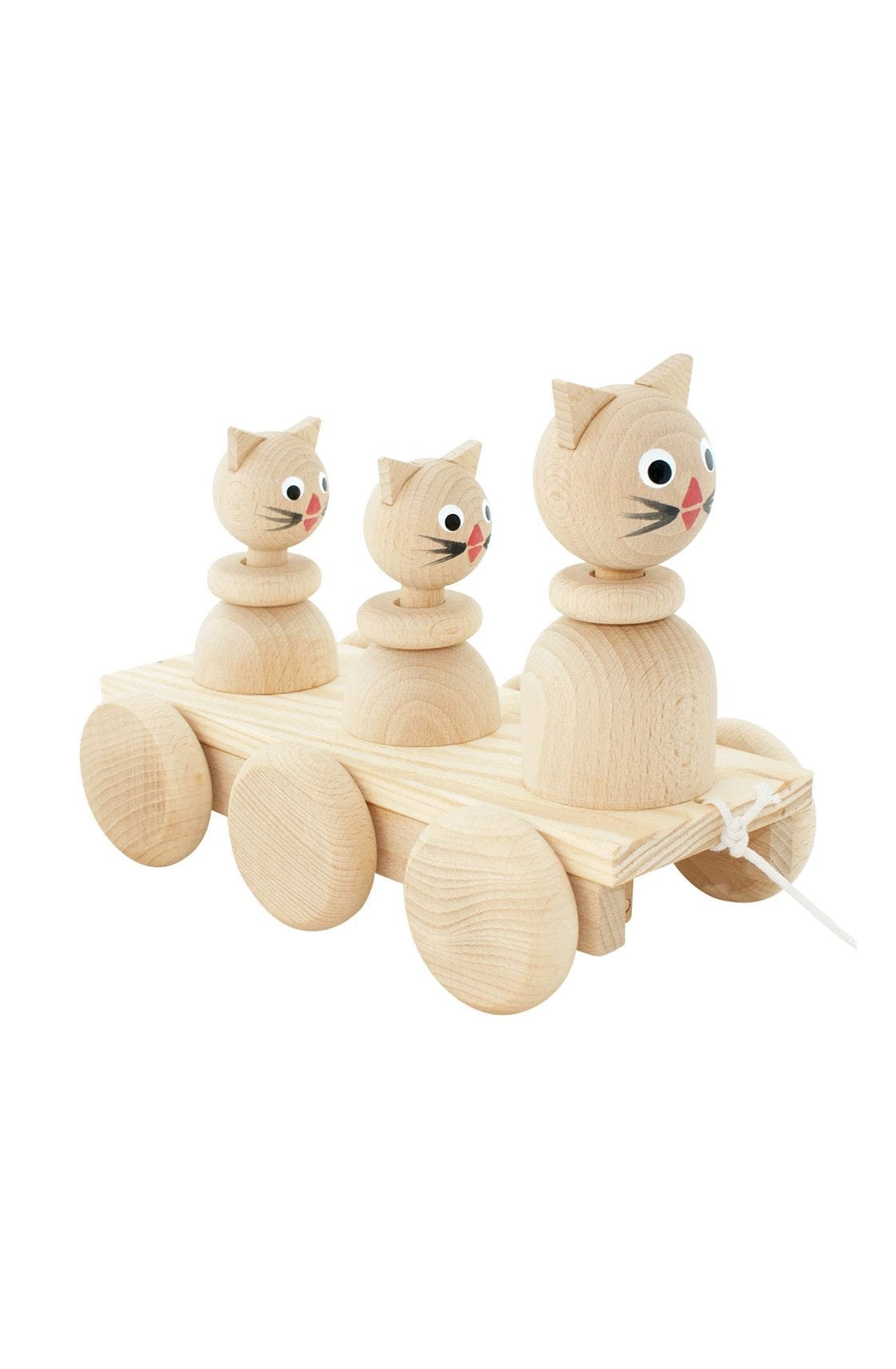 Miva Vacov Wooden Pull Along Cat Family - Hello Little Birdie