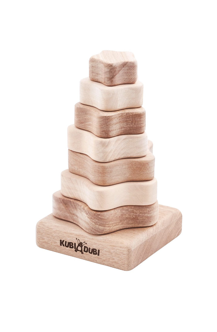 Kubi Dubi Wooden Stacking Pyramid, Modern - Hello Little Birdie
