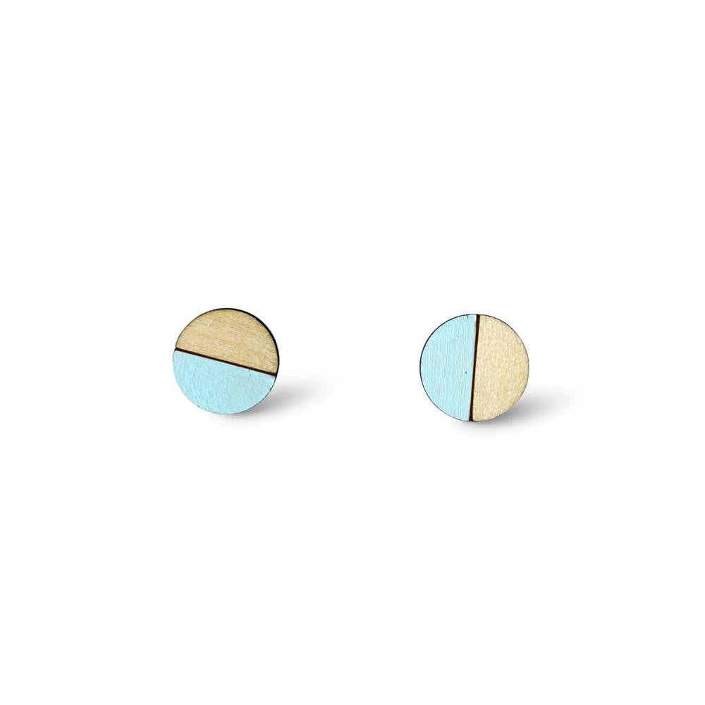 Circle Half Earrings - Mint Blue-Amindy
