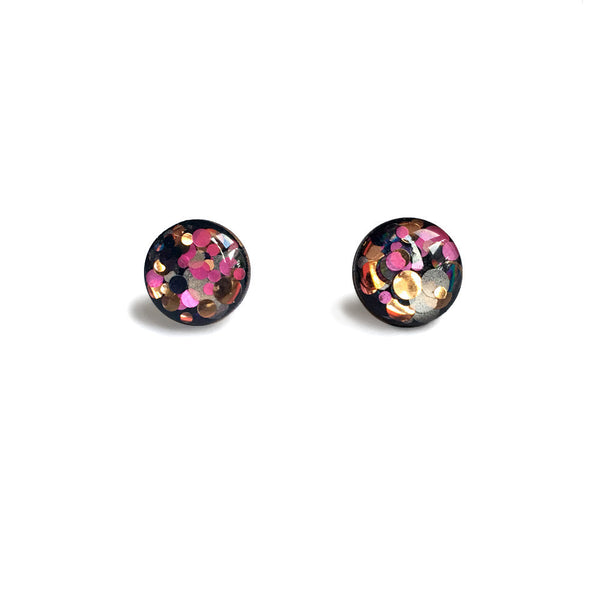 Circle Resin Earrings - black, pink and gold-Amindy
