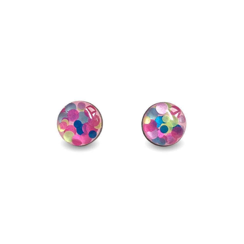 Circle Resin Earrings - pink, lime and blue-Amindy