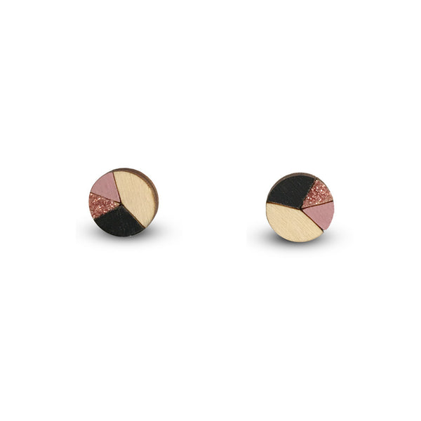 Circle Sliced Earrings - Black, Dusty Pink, Bronze Glitter-Amindy