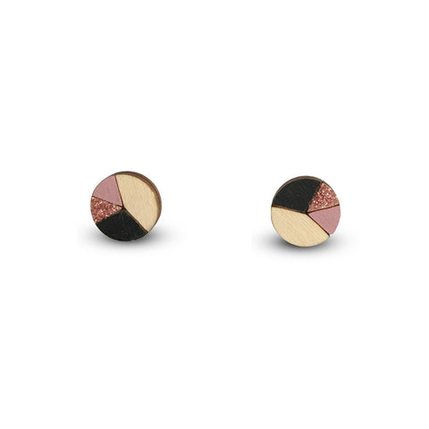 Circle Sliced Earrings - Black, Dusty Pink, Bronze Glitter