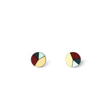 Circle Sliced Earrings - Burgundy, Baby Blue, Navy Blue-Amindy