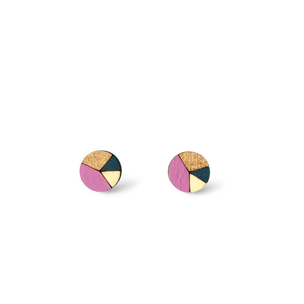 Circle Sliced Earrings - Mauve, Dusty Blue, Bronze-Amindy