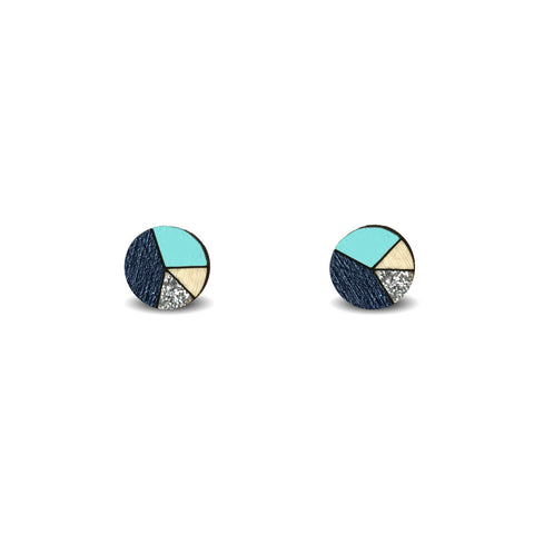 Circle Sliced Earrings - Navy, Mint and Silver Glitter