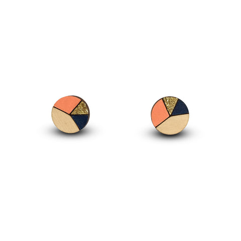 Circle Sliced Earrings - Peach, Gold Glitter & Navy Blue