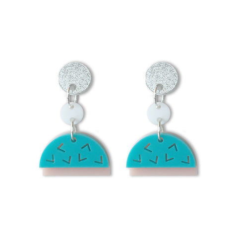 Confetti Drop Earrings - Bubblegum Fun (Aqua/Blush)