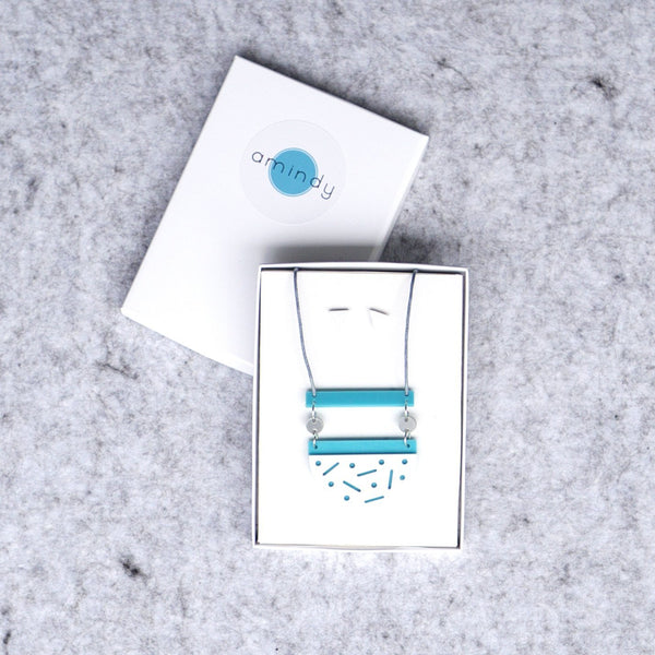 Confetti necklace and earring gift set - aqua, white, grey-Amindy
