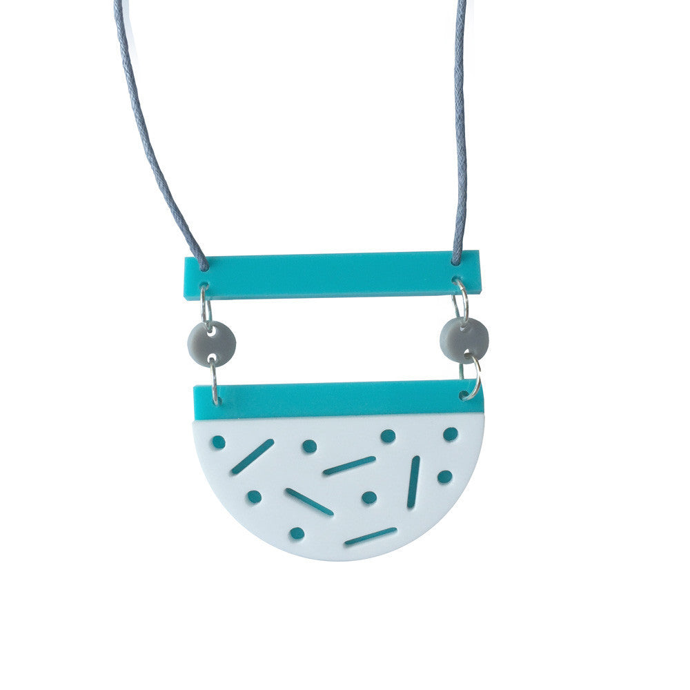 Confetti Necklace - Blue Heaven (aqua/white)-Amindy