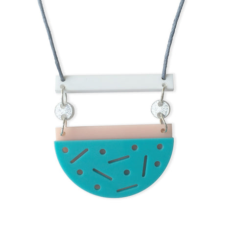 Confetti Necklace - Bubblegum Fun (aqua/blush)