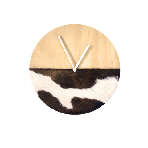 Cowhide Clock - Long Hair Brown & White - 30cm #21