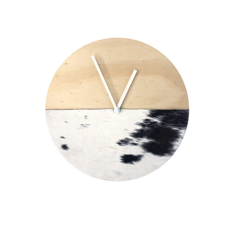 Cowhide Clock - Short Hair Black & White - 30cm #19