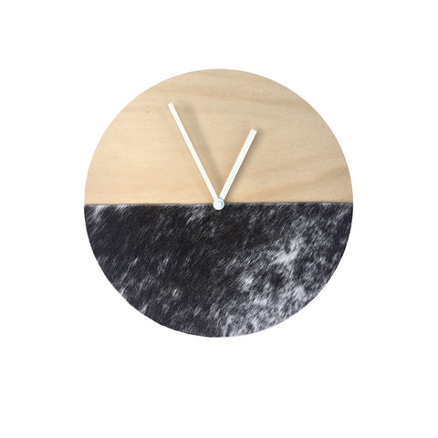 Cowhide Clock - Short Hair Black & White - 30cm #20