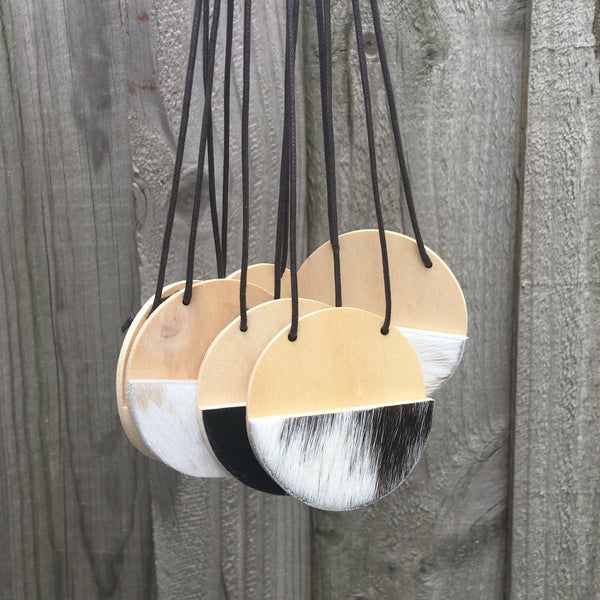 Cowhide necklaces - various patterns-Amindy
