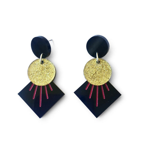 Deco Drop Earrings - Black, Gold and Pink-Amindy