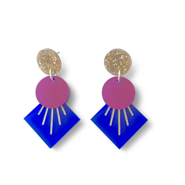 Deco Drop Earrings - Navy,Plum and Gold Glitter-Amindy
