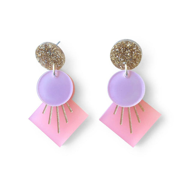 Deco Drop Earrings - Pink, Lilac and Gold Glitter-Amindy