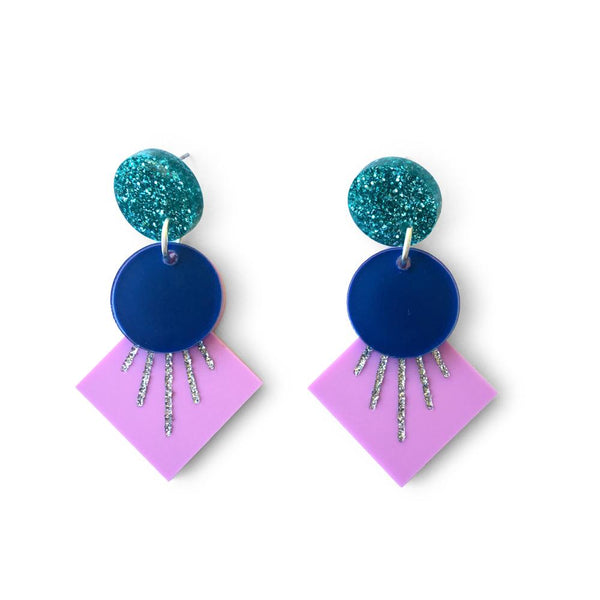 Deco Drop Earrings - Purple, Navy,Teal and Silver Glitter-Amindy