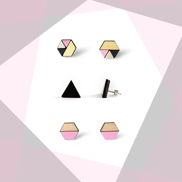 Earring studs triple pack - Baby Pink & Black-Amindy