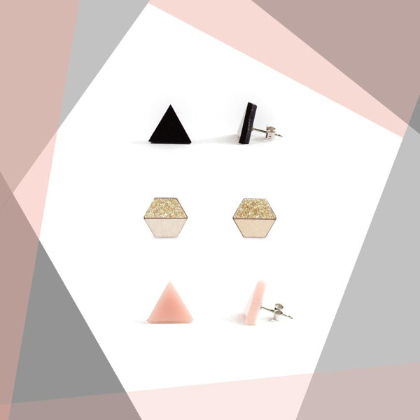 Earring studs triple pack - Black, Blush & Gold Glitter-Amindy
