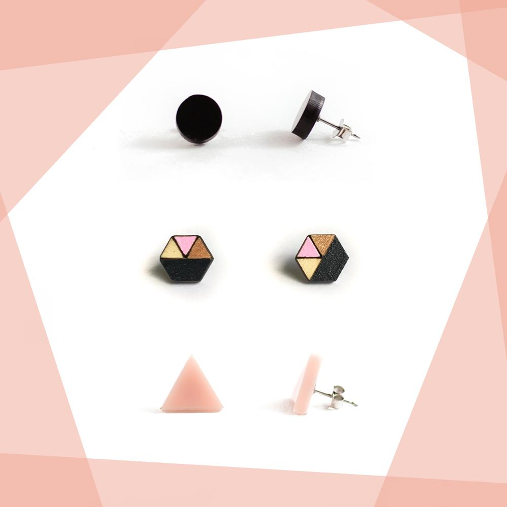 Earring studs triple pack - Black & Blush-Amindy