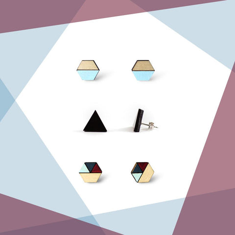 Earring studs triple pack - Burgundy & Navy Blue