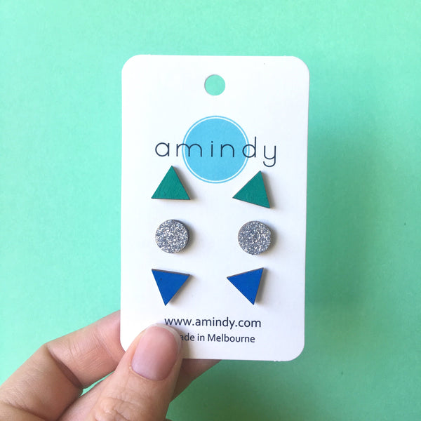 Earring studs triple pack - Green triangle, Silver Glitter circle, Blue triangle-Amindy