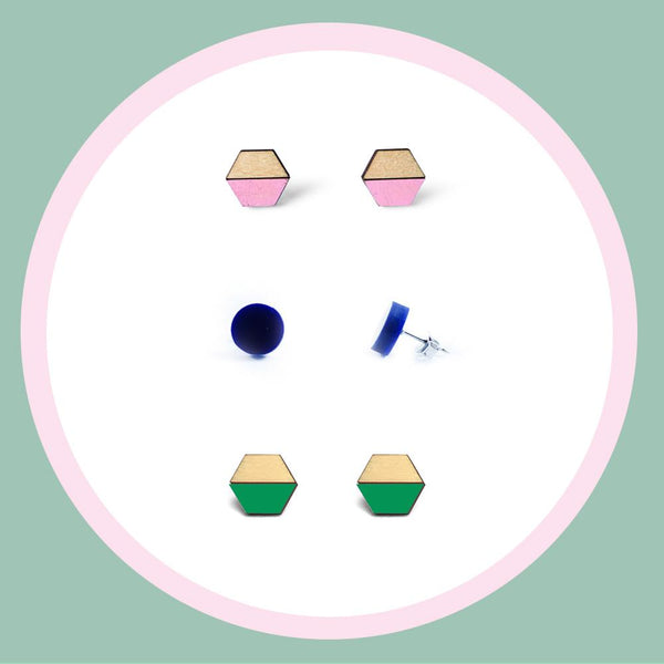 Earring studs triple pack - Navy, Green, & Baby Pink-Amindy