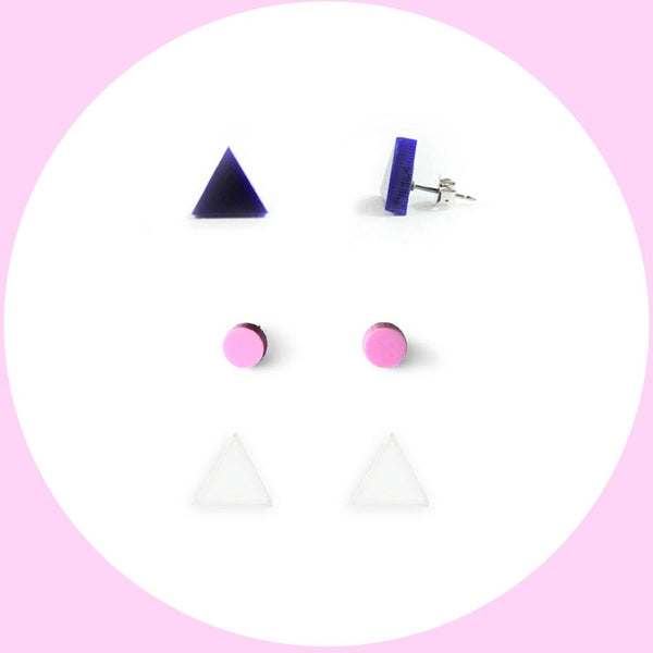 Earring studs triple pack - Navy, Lilac, White-Amindy