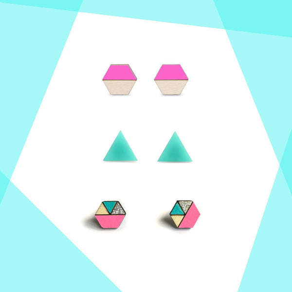 Earring studs triple pack - Neon Pink, Aqua and Silver Glitter-Amindy