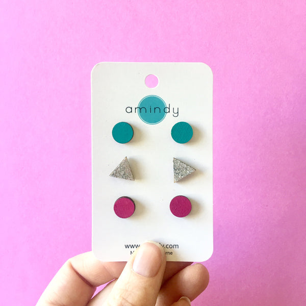Earring studs triple pack - Pink circle, Silver Glitter triangle, Teal circle-Amindy