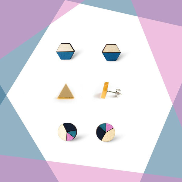 Earring studs triple pack - Teal & Gold Mirror-Amindy