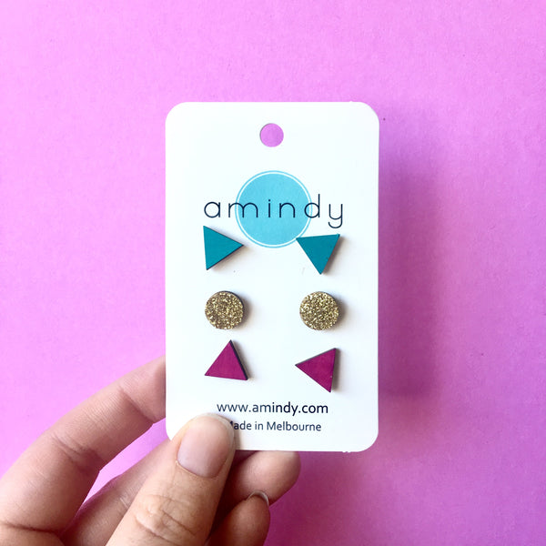 Earring studs triple pack - Teal triangle, Gold Glitter circle, Pink triangle-Amindy
