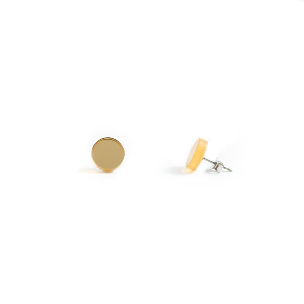 GEO - Circle Earring Studs - Gold Mirror-Amindy