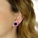 GEO - Circle Earring Studs - Navy Blue-Amindy