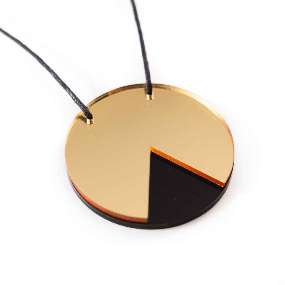 GEO - Circle Necklace - Gold Mirror and Black-Amindy