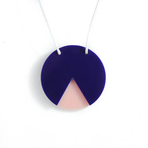 GEO - Circle Necklace - Navy and Blush Pink