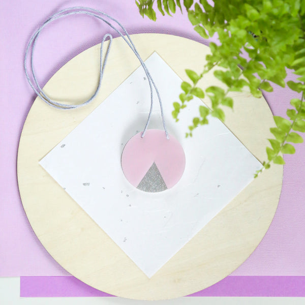 GEO - Circle Necklace - Pearlescent Pink and Silver Glitter-Amindy