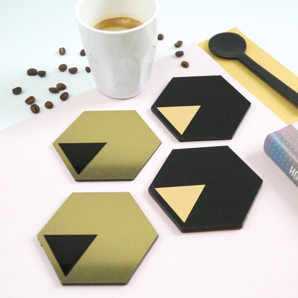 GEO - Coasters - Black - Brushed Gold-Amindy