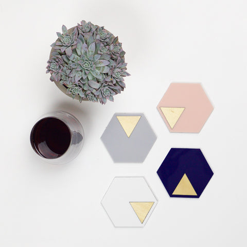 GEO - Coasters - Navy - Grey - Blush Pink - White