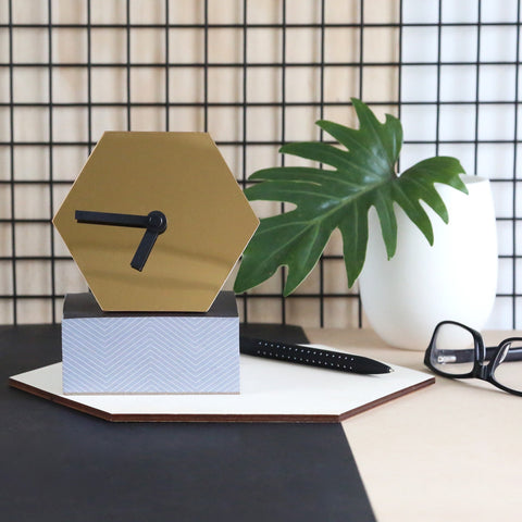 GEO Desk Clock - Mirror Gold