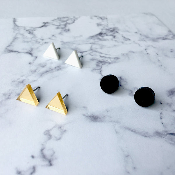 GEO - Earring studs triple pack - black, white, gold mirror-Amindy