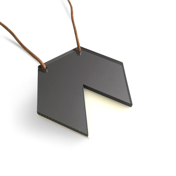 GEO - Hexagon Necklace - Grey Mirror and White-Amindy