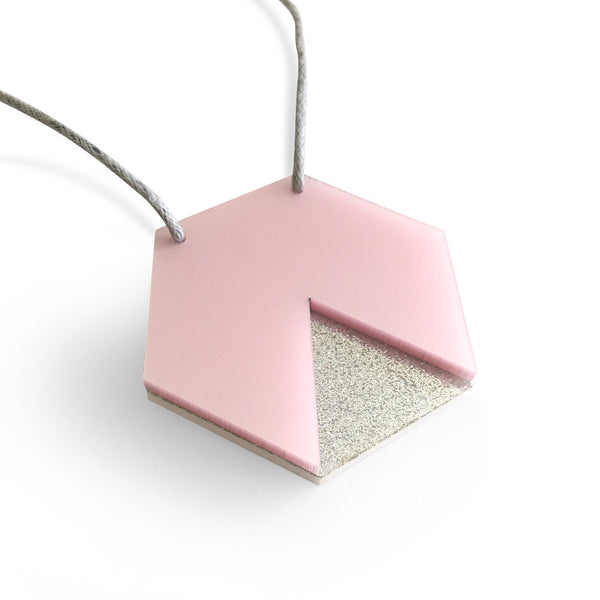 GEO - Hexagon Necklace - Pearlescent Pink and Silver Glitter-Amindy